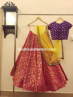 Party Wear Lehengas and Crop Tops by Ashwini Reddy - South India Fashion Lehenga Designs, Indian Attire, Indian Ethnic Wear, Indian India, Indian Style, India Fashion, Ethnic Fashion, Tokyo Fashion, Street Fashion