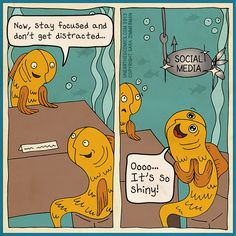 Social media humor and marketing cartoons about getting distracted by Unearthed Comics Technology Posters, Technology Humor, Social Media Humor, Social Media Tips, Image Film, Digital Marketing Services, Advertising Services, Social Marketing, Blended Learning