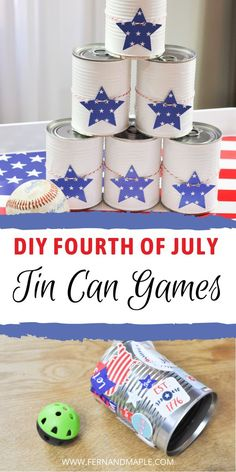 Step-by-step instructions for how to create easy and fun Fourth of July games out of tin cans and other easily accessible and affordable materials! Great crafts to make with kids, and entertaining at any 4th of July party! Get details now at fernandmaple.com.