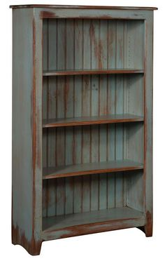 Amish Pine Wood Bookcase - Primitive Pine Wood Collection This rustic, French-Country bookcase is constructed with screws instead of nails for a stronger, longer-lasting bookcase. Primitive Bathrooms, Primitive Homes, Primitive Kitchen, Country Primitive, Primitive Decor, Primitive Antiques, Primitive Shelves, Primitive Cabinets, Primitive Bedroom