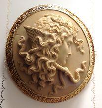 Italian Lava Cameo Brooch of Medusa in 18K Gold Mount