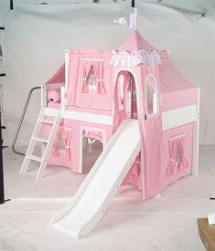 Maxtrix Princess Castle Bed w/ Slide & ANGLE Ladder (Soft Pink/White)