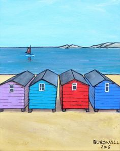ARTFINDER: Island View by Paul Bursnall - Four Beach huts looking out to sea and distant islands. Painted on stretched canvas with the image around the edges. Ready to hang.