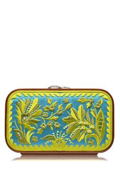 Azure floral brocade embroidered square bag by KATRIN LANGER for Preorder on Moda Operandi