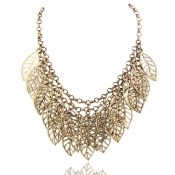 Cheap Fashion Leaves Shaped Gold Metal Necklace