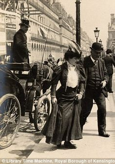 Parisian chic: These images were taken during Sambourne's trip to the French capital in 1906 and show women, men and young children out and about