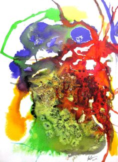 Masked ... ink and liquid acrylics on cold pressed paper. See RLOliverartist.com for more examples of my work.