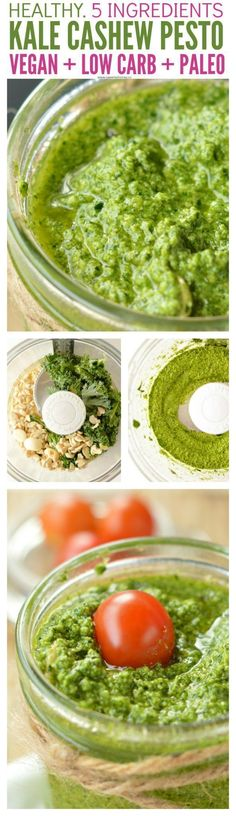 Cashew Pesto Vegan recipe with basil, kale or spinach, olive oil and garlic. A delicious dairy free pesto recipe easy to make. Paleo, gluten free. #pesto #vegan