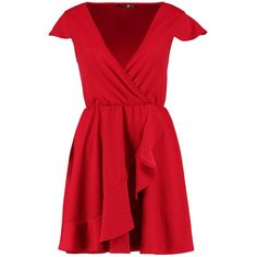 Boohoo Melanie Wrap Frill Detail Skater Dress (74 PEN) ❤ liked on Polyvore featuring dresses, frilly dresses, flounce dress, ruffle dress, frill dress and red skater dresses