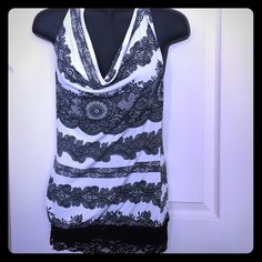Lace trimmed halter top make an offer‼️ Elegant girly halter top with black lace trim, very flattering fit! Size small. Tops