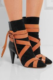 Nola suede and leather ankle boots