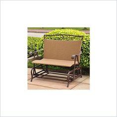 International Caravan Valencia Wicker Double Glider Patio Chair - 4102-DBL