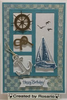 Stampin Up - Sailing Home Birthday Cards For Boys, Masculine Birthday Cards, Bday Cards, Handmade Birthday Cards, Masculine Cards, Happy Birthday Cards, Poinsettia Cards, Nautical Cards, Hand Made Greeting Cards