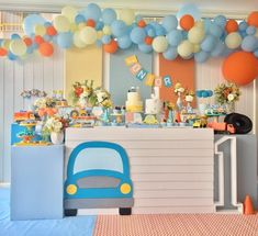 how to organize creative ideas (PHOTOS) - Birthday FM : Home of Birtday Inspirations, Wishes, DIY, Music & Ideas 2nd Birthday Party Themes, Birthday Table, Cars Birthday Parties, Baby Birthday, Birthday Decorations, Festa Hot Wheels, Transportation Birthday, Baby Party, Creative Ideas