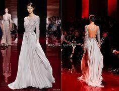 Wholesale Evening Dresses - Buy 2014 Elie Saab Sheer Beaded Backless Crystal Pageant Gowns Evening Dresses Sheath Bateau Long Sleeves Floor-...
