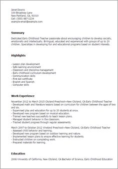 Resume Templates Early Childhood Teacher Preschool Special Education College