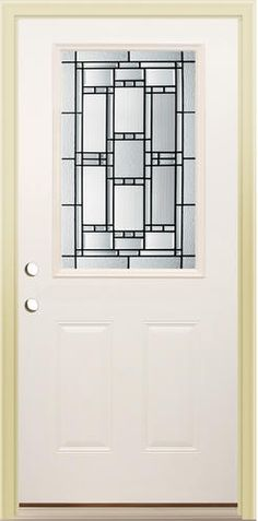 Oak finish steel entry door with mission style glass panel from menards exterior home for Mastercraft prehung interior doors