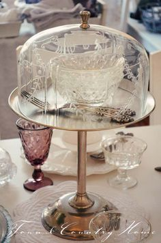 Beautiful Etched Glass Cake Stand