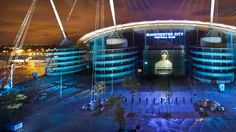 The City of Manchester Stadium in Manchester, England, also known as Etihad Stadium Manchester England, Manchester United, English Football Stadiums, City Of Manchester Stadium, Stadium Architecture, Baseball Park, Premier League Champions, Sports Stadium, Temples