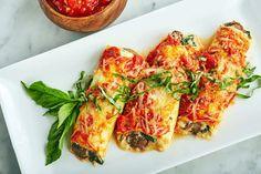 Zucchini Manicotti Zucchini Manicotti Recipe, Ricotta Pasta, Spinach Ricotta, Stuffed Mushrooms, Stuffed Peppers, How To Can Tomatoes, Baby Spinach, Fresh Basil, Recipes