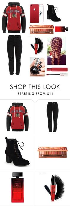 """""""Blackhawks"""" by mdchosenbygod on Polyvore featuring Old Time Hockey, Journee Collection, Urban Decay, Elizabeth Arden and Maybelline"""