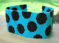 Polka dot peyote braceletbrown and turquoise delicas by thiosart