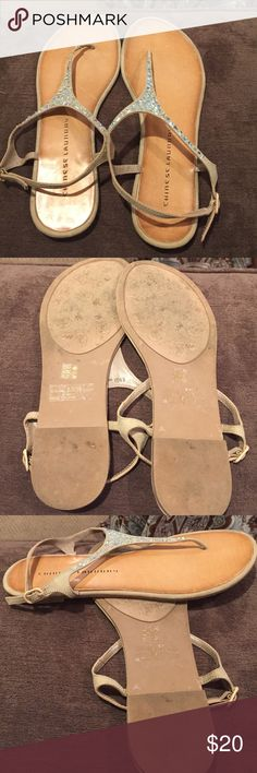 """Chinese Laundry """"Glisten"""" embellished sandals Chinese Laundry """"Glisten"""" embellished thong sandals    Size 8.5. Champagne/beige color Ruth iridescent gems. All appear to be intact/attached. Adjustable ankle strap. Flag heel. Great condition. Only worn a few time. Smoke free home. Chinese Laundry Shoes Sandals"""
