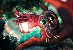 painting of owl perched on a tree branch with lantern Canvas Poster, Poster Wall, Canvas Wall Art, Canvas Prints, Owl Lantern, Forest Art, Forest Light, Large Prints, Bird Art