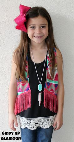 Kids Hooked on You Aztec Vest with Fringe in Hot Pink