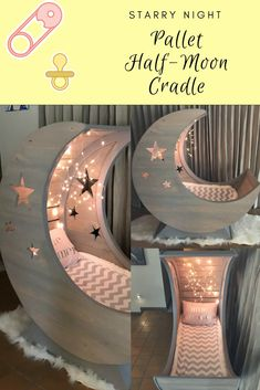 I made a Pallet Half-Moon Cradle from pictures I found on 1001pallets. It has an MDF frame and soft lighting inside. I carved star shapes on the outside, too! The cradle sits on a sturdy wooden pedestal base.