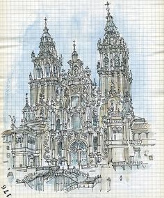 santiago de compostela I love how the details are rough, but you get the idea