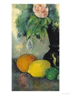Flowers and Fruit, circa 1886 Giclée-tryk af Paul Cézanne
