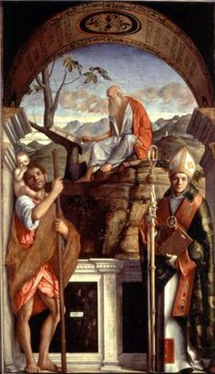 """""""St Jerome, St Christopher, and St Augustine"""" by Giovanni Bellini {c.1513}"""