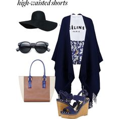 Hot Trend - High waisted shorts by elasianfashionbeauty on Polyvore featuring polyvore, fashion, style, Topshop, Paloma Blue, Charles by Charles David and BCBGMAXAZRIA