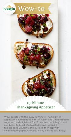 Make these caramelized grape crostini with Boursin for Thanksgiving in 15-minutes. And make it look like you spent hours. It's a win, win brought to you by the Boursin Purveyor of Wow Shop.