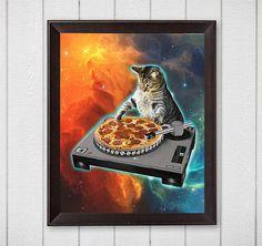 Cat dj with disc jockey's sound table-JPG-300 dpi galaxy