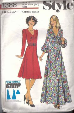 70s glam Style 1388  elegant dress gathers at by StarletPatterns, $12.00