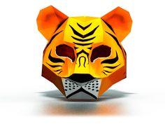 Make your own Tiger Mask from paper. Download DIY 3D tiger mask template: http://maskhunters.com/masks/tiger-mask-template/