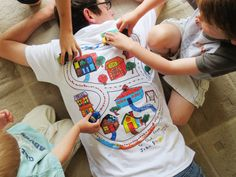 Car Play Shirt OUTLINED Kids Color in Map by TheBlueBasketShop