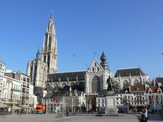 Cathedral Of Antwerp, Belgium, as seen from the Groenplaats (green square), with its statue of Rubens. The cathedral is considered to be one of the finest examples of Gothic architecture. Photo: Meskens