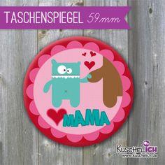 Taschenspiegel ♥ Mama ♥ 59 mm von Kuschelich auf DaWanda.com