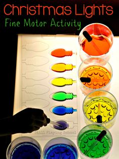 Coloring Christmas Lights: Fine Motor Activity on the Light Table from Still Playing School Más Christmas Activities For Kids, Preschool Christmas, Winter Activities, Craft Activities, Motor Activities, Christmas Colors, Christmas Themes, Christmas Lights, Christmas Crafts