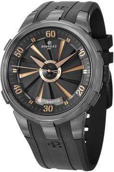 Perrelet Men's A4053/1 Turbine XL Analog Display Swiss Automatic Black Watch