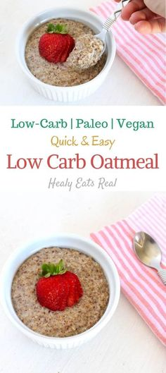 Low Carb Oatmeal Recipe (Vegan & Paleo)- This low carb oatmeal recipe is a great easy paleo, vegetarian or vegan breakfast recipe that is high in protein and low in carbs. It's easy to make and has a versatile nutty flavor with a thick oatmeal-like texture.  #oatmeal #paleo #vegan via @healyeatsreal