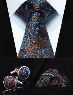 96f63b7a6877 Party Wedding Classic Pocket Square Tie TZP07Z8 Brown Blue Paisley 3.4