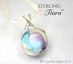 STERLING TIARA™ Cremation Jewelry Handmade Memory Glass Lampwork Bead with your loved one's ashes, hair. pet memorial