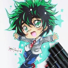@kiricheart their awesome anime/manga chibi illustration of Deku, done with the Chameleon Pens