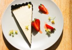 Blanch & Shock Development   Hay and malt tart with macerated Jubilee strawberries and lime blossoms.