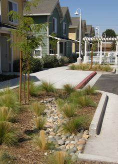 Interior parking lot drains to drought-tolerant landscaping and cobbles prevent…