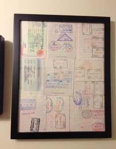 Passport Art.  Try this! Showcase your old stamps and expired visas from amazing adventures. Double sided glass frame.